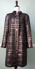 Burberry London Women's Black Silver Metallic Check Plaid Coat IT 42 US 8