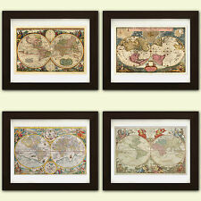 Collection de 4 vintage antique reproduction cartes mondiales * 4 pour le prix 3 *