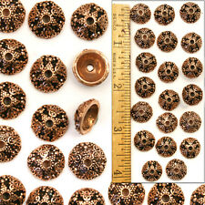 XL SOLID COPPER 12mm Bali Style Fancy Handmade Lacy Filigree Bead Caps 20pc