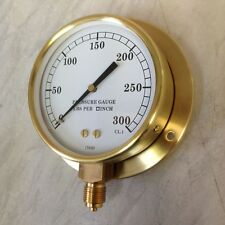 "6"" Brass steam pressure gauge with back plate 0-300 psi"