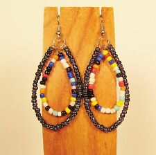 "2""  Multi Color Teardrop Double Hoops Handmade Seed Bead Hook Earrings"