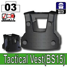 Black BS15 Tactical Army Vest (W255) compatible with toy brick minifigures