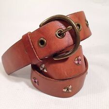 AMERICAN EAGLE OUTFITTERS SZ M 34/35 BROWN/TAN LEATHER BELT BRASS BUCKLE