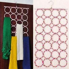 28 Ring Hole Clothes Tie Belt Shawl Scarf Hanger Holder Closet Organizer Hook
