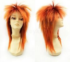 Orange & Gold Tinsel Punk Rock Wig Spiky David Bowie Style Synthetic Costume 15""
