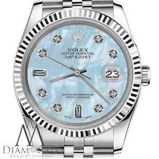 Rolex 26mm Datejust Baby Blue MOP Mother Of Pearl 18KWG SS 8+2 Diamonds Watch
