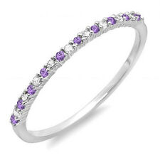 14K White Gold Amethyst & Diamond Ladies Wedding Band Stackable Ring Size 6