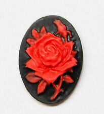 6 of 18x13 mm Red over Black Rose & Bud Motif Cameos, these are Very Nice