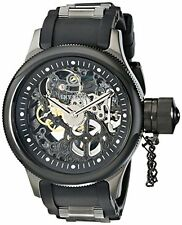 Invicta Russian Diver Mechanical Black Skeleton Dial Black Polyurethane