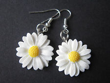 Goccia/Dangle Earrings-Bianco Fiori Margherite-Daisy-Argento Placcato