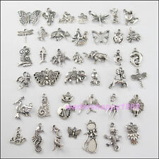 40Pcs Mixed Lots of Tibetan Silver Tone Animals Charms Pendants