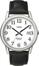 Mens Timex Easy Reader Indiglo Black Leather White Dial with Date Watch T2H281