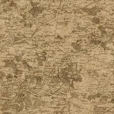 Wallpaper Old World Vintage French Map Sephia Brown and Tan