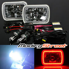 8000K BI-XENON HID/7x6 H6014/H6052/H6054 RED SMD HALO RING CRYSTAL HEADLIGHTS