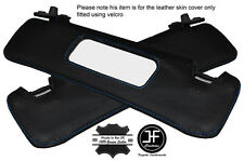 BLUE STITCHING 2X SUN VISORS LEATHER COVERS FITS FIAT BARCHETTA 1995-2005
