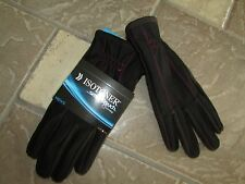 NEW ISOTONER BLACK GLOVES MENS L  #700M1 BLR RED STITCH SMARTOUCH FREE SHIP