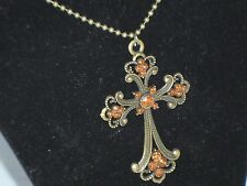 Retro Cross Rhinestone Sweater Necklace Fashion  Pendant Goth Bronze   B1-5