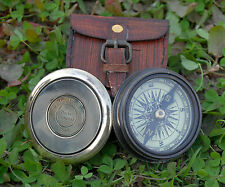 Vintage Robert Frost Brass and Copper Poem Compass with Leather Case.