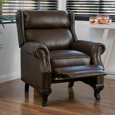 Traditional Dark Brown Leather Recliner Club Chair