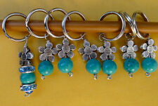 Stitch marker, knitting 6+1, turquoise & glass,  flower