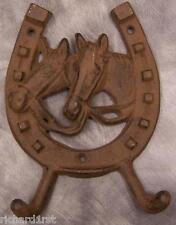 Robe Coat Hook Weathered cast iron Horseshoe & Head NEW