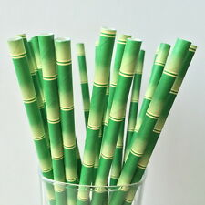 Paper Straws Green Bamboo Pattern For Party Birthday Wedding 25Pcs Biodegradable