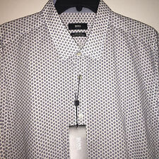 NWT MENS HUGO BOSS CONTRAST FLIP CUFF WHITE L/S COTTON BUTTON DOWN SHIRT XL $155