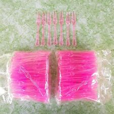 Disposable Mini Forks For Fruit Party Cocktail Cake Pink Plastic 200pcs x3.5 in