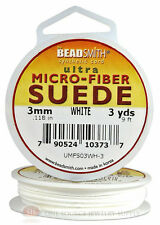 White Micro-Fiber Faux Leather Suede Lace 2.74m Beading Cord Spool 3 Yds.