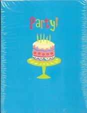 Party! Invitations 8 Count w/ Envelopes Blue Retro Funky Cake 60's 50's birthday