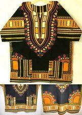 Men Dashiki Shirt Women Afirican top Black Yellow Orange Mexican Blouse size