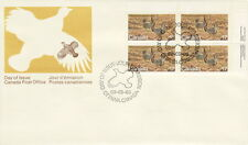 CANADA #854 17¢ ENDANGERED WILDLIFE UR INSCRIPTION BLOCK FIRST DAY COVER