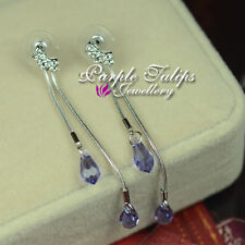 Lavender Double Chain Swarovski Crystals Stud Earrings,18K White Gold Plated