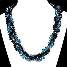 Ocean Blue & Black Fire Crystal Necklace Handcrafted Bead Jewellery UK Gift Idea