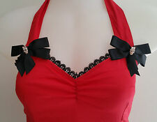 Red Halter top diamonte skulls & bows Rockabilly Sexy Pin-up Vintage size XL