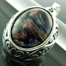 368 GENUINE HALLMARKED REAL 925 STERLING SILVER MILLEFIORI MURANO GLASS PENDANT