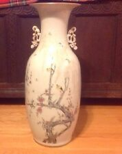 "Chinese Birds Tree Blossoms Butterflies  Large   Porcelain  Vase 22"" Old"