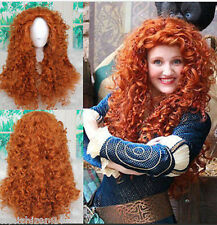 Brave Merida Long Orange Wavy Curly Synthetic Wigs Cosplay Party Anime Wig+gift