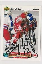91/92 Upper Deck Tyler Wright Team Canada Autographed Hockey Team Card