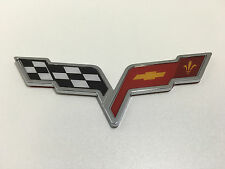 Corvette Cross Crossed Flags For Front Rear Side Chevy Emblem Logo Badge