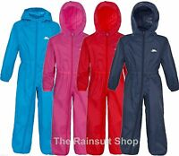 TRESPASS KIDS BUTTON SUIT WATERPROOF ALL IN ONE PUDDLE RAINSUIT 12 MTHS to 8YRS