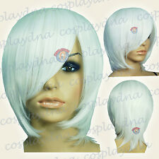White Long Layer Bob Cut Short Cosplay Wig - 16 inch High Temp - CosplayDNA Wigs