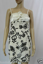 Floral Ribbon Satin Tie Up Chest Sheath Dress Elasticised S 8 10 Off White Black