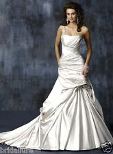 MAGGIE SOTTERO FIORELLA 4 ALABASTER SATIN JEWELED ONE SHOULDER WEDDING DRESS NEW