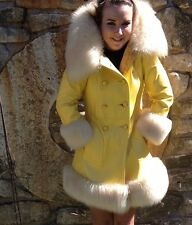Double Breasted Yellow Leather And Fur Coat Jacket  Vintage Mod Sexy Sunny OOAK