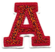 "LETTERS - Red Sequin  2"" Letter ""A"" - Iron On Embroidered Applique"