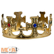 Royal Gold Crown Adults Fancy Dress King & Queen Mens Ladies Costume Accessory