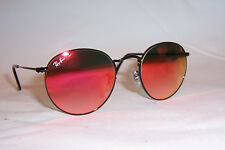 New RAY BAN ROUND METAL Sunglasses 3447 002/4W BLACK/RED MIRROR 50mm AUTHENTIC
