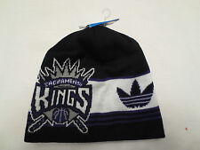 ADIDAS NBA CUFFLESS KNIT BIG LOGO BEANIE CAP HAT SACRAMENTO KINGS