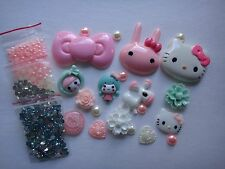 Pink Blue Kids Animal Hello Kitty Deco Den DIY Kit Cabochon 4353
